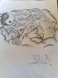 Drache, Zeichnungen, Bleistift malerei, Chinese