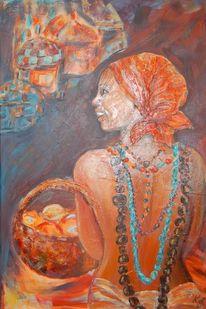 Orange, Frau, Korb, Braun