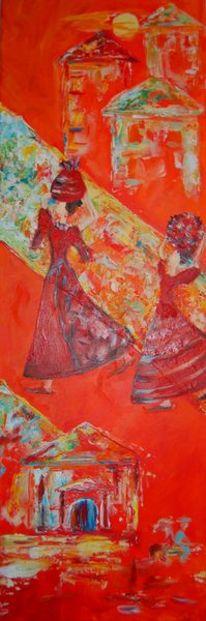 Abstrakt, Orange, Person, Malerei