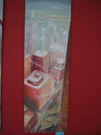 Stadt, Rot, Ölmalerei, Haus