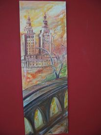 Park, Orange, Stadt, Brücke