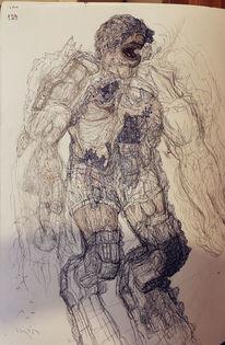 Soldat, Alien, Infanterie, Zeichnungen