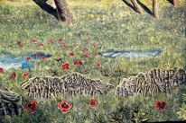 Wasserpfützen, Stein, Gras, Baum