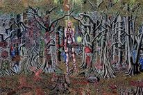 Dämon, Waffe, Frau, Wald