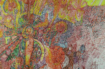 Tusche, Feder und tusche, Farbrausch, Abstrakte kunst