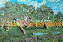 Gras, Baum, Freude, Frühling