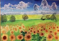 Sommer, Wolken, Sonnenblumen, Bauernhof