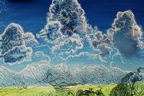 Berge, Ölmalerei, Voralpen, Wolken
