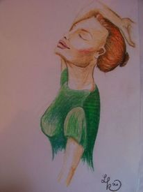 Mädchen, Grün, Pastellmalerei, Frau