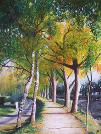 Ölmalerei, Baum, Herbst, Kanal
