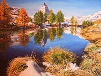 Berge, Bergsee, Herbst, Spiegelung