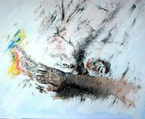 Hand, Spachtel, Farben, Ölmalerei