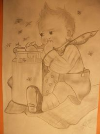 Bleistiftzeichnung, Kind, Malerei, Menschen
