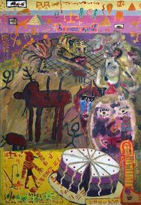Gouachemalerei, Schüler, Afrikanische torte, Kindheit