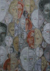Linke gesichtshälften, Rechte gesichtshäften, Grüne pupillen, Rote pupillen