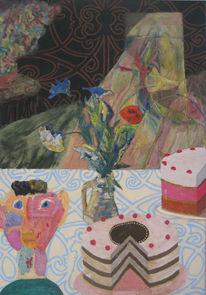 Blumenvasen, Tischdecke mit muster, Abstrakter einbruch, Torten tortenmensch