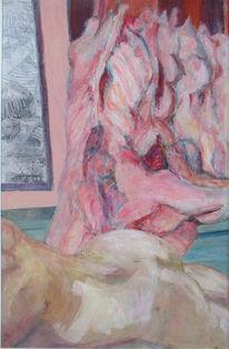 Bäuchlinks liegende, Draussen schmusende, Geöffnet hängende, Malerei