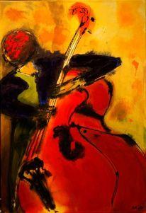 Musiker, Streichinstrument, Acrylmalerei, Bassist