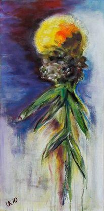 Blumen, Acrylmalerei, Distel, Malerei