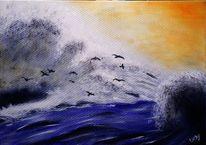 Landschaft, Sturm, Acrylmalerei, Bewegung
