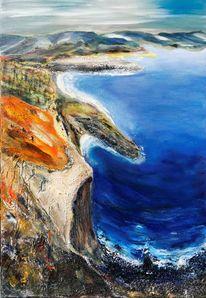 Süd, Frankreich, Acrylmalerei, Küstenlandschaft