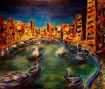 Acrylmalerei, Stadtansicht, Malta, Hafen
