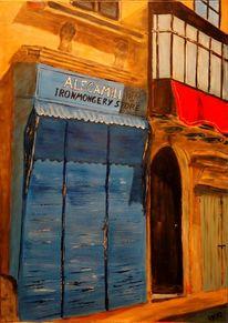 Acrylmalerei, Valletta, Malta, Häuserzeile