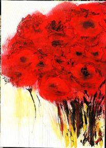 Blumen, Acrylmalerei, Mohnblumen, Malerei
