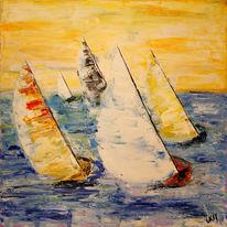 Landschaft, Meer, Acrylmalerei, Regatta