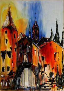Frankreich, Stadtansicht, Acrylmalerei, Malerei