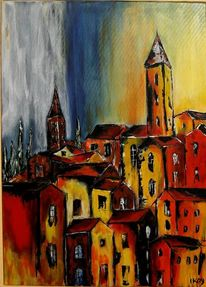 Frankreich, Acrylmalerei, Stadtansicht, Süd