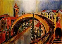 Süd, Stadtansicht, Frankreich, Acrylmalerei
