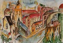 Stadtansicht, Aquarellmalerei, Aquarell, Malerei