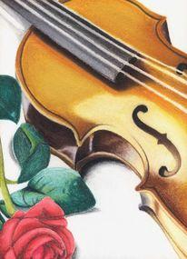 Rose, Geige, Violine, Malerei