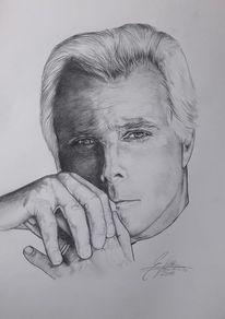 Skizze, Bleistiftzeichnung, Schwarz weiß, Portrait