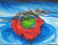 Rose, Kirche, Wolken, Malerei