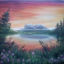 Berge, Sonne, Sonnenuntergang, Wasser