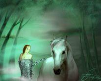 Kette, Pferde, Nebel, Baum