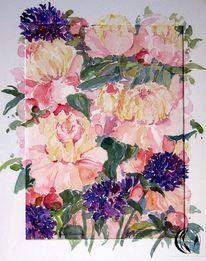 Blumen, Malen, Meer, Bauernrose