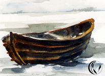 Aquarellmalerei, Hallig hooge, Schnee, Malerei