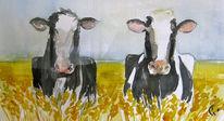 Aquarellmalerei, Tiere, Kuh, Malerei
