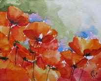 Meer, Blumen, Aquarellmalerei, Mohn