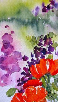 Mohn, Blumen, Aquarellmalerei, Malerei