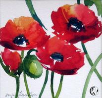 Blumen, Rot, Mohn, Aquarellmalerei
