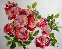 Aquarellmalerei, Rose, Blumen, Meer