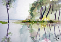 Ruhe, Aquarellmalerei, Landschaft, Malerei