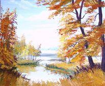 Ölmalerei, Park, Natur, Herbst