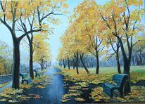 Herbst, Park, Wald, Malerei