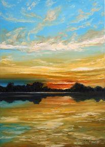 Sonnenuntergang, Ölmalerei, Wasser, Landschaft