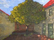 Licht, Acrylmalerei, Gebäude, Baum